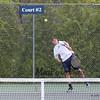 York's #3 Singles player James Peter serves to Kennebunk's Jared Allen during Monday's Boys Tennis match between York and Kennebunk High Schools on 5-23-2016 @ YHS.  Matt Parker Photos
