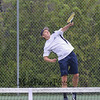York's #3 Singles player James Peter serves to Kennebunk's Jared Allen during Monday's Boys Tennis match between York and Kennebunk High Schools on 5-23-2016 @ YHS.  Matt Parker Photos
