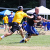 Epping-Newmarket's Cody Fetter looks to evade a Bow player after making a catch during Saturday's 7v7 Under Armour Football Tournament between Epping-Newmarket and Bow HS on 7-16-2016 @ Exeter High School.  Matt Parker Photos