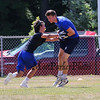 Winnacunnet's Logan Keene gets tagger by a Bedford Mass player during Saturday's 7v7 Under Armour Football Tournament vs Bedford MA on 7-16-2016 @ Exeter High School.  Matt Parker Photos