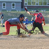 Hurricanes 3rd baseman #28 Ty Long makes a tag on Slammers #24 Grace Dodge, Grace is called safe after the ball pops free of Long's glove during Friday's pool play between the Seacoast Hurricanes and the Rochester Slammers at the Brawl at the Beach Girls U12 Softball Tournament on 7-22-2016 @ Winnacunnet High School, Hampton, NH.  Matt Parker Photos
