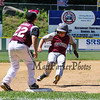 Portsmouth's #3 Elijah Boutin makes it safely to 3rd while Goffstown 3rd Baseman #22 Cam Hujsak waits for the throw that was never made during Saturday's U9-10 NH Little League State Finals between Portsmouth and Goffstown at Grappone Park, Concord, NH on 7-23-2016.  Matt Parker Photos