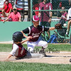 Portsmouth's #99 Angus Moss slides safely into home on a passed ball while Goffstown's Pitcher #33 Isaac Morin covers the plate during Saturday's U9-10 NH Little League State Finals between Portsmouth and Goffstown at Grappone Park, Concord, NH on 7-23-2016.  Matt Parker Photos