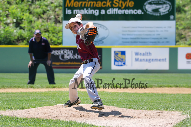 Portsmouth's #2 relief pitcher #22 William Shaheen throws a pitch during Saturday's U9-10 NH Little League State Finals between Portsmouth and Goffstown at Grappone Park, Concord, NH on 7-23-2016.  Matt Parker Photos