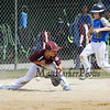 Seacoast's #38 Grayson Eaton makes it safely to 1st after the ball gets past Hudson's 1st baseman #15 Ben Geiger at Saturday's 2016 NH Cal Ripken League 8 Year Old State Tournament Championships between Seacoast and Hudson on Saturday 7-30-2016 @ Roger Allen Park, Rochester, NH. Sea-7, Hud-9.  Matt Parker Photos