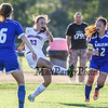 Winnacunnet's #23 Sydney Murray takes a shot with Salem's #12 Taylor Rutstein and #6 Toni Hern defend during Tuesday's NHIAA DIV I Girls Soccer game between Winnacunnet and Salem High Schools on 9-13-2016 @ WHS.  Matt Parker Photos
