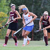 Winnacunnet's #13 Savannah Sigman breaks up a pass to Timberlane's #11 Ky Fitzpatrick and #16 Sammy Hamilton during Wednesday's NHIAA DIV I Girls Field Hockey between Winnacunnet and Timberlane High Schools on 9-14-2016 @ WHS.  Matt Parker Photos