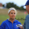 Winnacunnet Varsity Field Hockey Coach Heidi Hand talks with Hampton Union Reporter Jay Pinsonnault after their DIV I win over the Owls of Timberlane High School  on Wednesday 9-14-2016 @ WHS.  Matt Parker Photos
