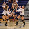 Winnacunnet's #16 Sophia Stefanov bumps the ball up off an Owls serve with #6 Rose Slayton covering during Tuesday's NHIAA DIV I Girls Volleyball game between Winnacunnet and Timberlane High Schools on 9-14-2016 @ WHS.  Matt Parker Photos
