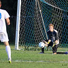 Winnacunnet's Goal Keeper Dominic Stiles makes a save of a Bedford shot on goal at Tuesday's NHIAA DIV I Boys Soccer game between Winnacunnet and Bedford High Schools on 9-20-2016.  Matt Parker Photos