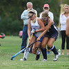 Exeter's #18 Maddie Johansson puts pressure on Winnacunnet's #5 Isobel Sargent during Friday's NHIAA DIV 1 Girls Field Hockey game between Winnacunnet and Exeter High Schools on 9-23-2016 @ WHS.  Matt Parker Photos