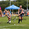 Winnacunnet's #6 Abby Merrill takes a shot with Exeter's #6 Lily Keans defending at Friday's NHIAA DIV 1 Girls Field Hockey game between Winnacunnet and Exeter High Schools on 9-23-2016 @ WHS.  Matt Parker Photos