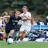 Exeter's #11 Avery Buckley fends off Winnacunnet's #7 Hannah Driscoll during Friday's DIV I Girls Soccer game between Winnacunnet and Exeter High Schools on 9-23-2016 @ WHS.  Matt Parker Photos