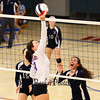 Winnacunnet's #8 Sydney Powers bumps the ball over the net while Exeter's #12 Sophia Scola and #15 Valerie Johnson try to anticipate the play during Friday's NHIAA DIV I Girls Volleyball match-up between Winnacunnet and Exeter High Schools on 9-23-2016 @ WHS.  Matt Parker Photos