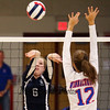 Exeter's #6 Caleigh Bousquin puts the ball back over the net with Winnacunnet's #12 Stephanie Rheume defending during Friday's NHIAA DIV I Girls Volleyball match0up between Winnacunnet and Exeter High Schools on 9-23-2016 @ WHS.  Matt Parker Photos