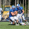Rams RB #44 Patrick Saunders gets tackled by Wildcats #84 Jake Nelson but not before getting a 1st down at Saturday's Campbell Conference Football game between York and Kennebunk High School on 9-24-2016 @ Kennebunk, ME.  Matt Parker Photos