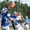 A pass by York's QB Trevor LaBonte intended for York's #47 Timothy MacDonald is broken up by Rams #11 Derek Smith at Saturday's Campbell Conference Football game between York and Kennebunk High School on 9-24-2016 @ Kennebunk, ME.  Matt Parker Photos
