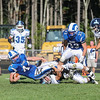 Ram's RB #44 Patrick Saunders gets tackled by Wildcats #84 Jake Nelson but not before getting a 1st down at Saturday's Campbell Conference Football game between York and Kennebunk High School on 9-24-2016 @ Kennebunk, ME.  Matt Parker Photos