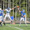 Rams QB #5 Tripp Bush throws a pass with Wildcats #84 Jake Nelson jumping to make a block at Saturday's Campbell Conference Football game between York and Kennebunk High School on 9-24-2016 @ Kennebunk, ME.  Matt Parker Photos