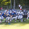 Rams DL #54 Cole Hoffman makes an interception off a York pass and runs for a couple yards at Saturday's Campbell Conference Football game between York and Kennebunk High School on 9-24-2016 @ Kennebunk, ME.  Matt Parker Photos