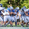 Rams #30 Jared Dyer gets stopped by York's #79 Ben Mahoney and #76 Matthew MacLean at Saturday's Campbell Conference Football game between York and Kennebunk High School on 9-24-2016 @ Kennebunk, ME.  Matt Parker Photos