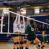 Dover's #6 Libby Hyson puts the ball over the net with Winnacunnet's #10 Sarah Taylor and #12 Stephanie Rheume defending during Monday Night's Girls NHIAA DIV I Volleyball game between Winnacunnet and Dover High Schools on 9-26-2016 @ WHS.  Matt Parker Photos