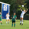 Winnacunnet's #15 Tess Rodgers jumps to get her head on the ball during Tuesday's NHIAA DIV ! Girls Soccer game between Winnacunnet and Dover High Schools on 9-27-2016.  Matt Parker Photos