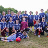 The Team Poses for a photo with Coach Parker at the Cooperative Middle School (CMS) of Stratham, Boys Soccer game vs Portsmouth Middle School on Thursday, 9-29-2016 @ Clough Field, Portsmouth, NH. CMS-7, PMS-3.  Matt Parker Photos