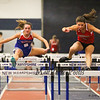 Winnacunnet's Sarah DeMello (4th 9.40) and Bedford's Shanna Scribner (5th 9.70) compete in the Girls 55m Hurdles during Sunday's NH Indoor Track and Field League Evening Session @ The Paul Sweet Oval @ UNH on 1-10-2016.  Matt Parker Photos