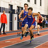 Winnacunnet's Brandon Hanley hands the batton off to Xavier Coggeshall in the Boys 4x160m Relay with the team finishing 1st with a time of 1:18.00 during Sunday's NH Indoor Track and Field League Evening Session @ The Paul Sweet Oval @ UNH on 1-10-2016.  Matt Parker Photos