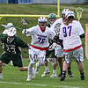 Winnacunnet's #97 Mike Burke and #96 Duncan Cragg set a pick for #76 Brian Auffant allowing him to get past Kingswood defender #33 Alex McKenna during Friday's NHIAA DIV II Boys Lacrosse gaem between Winnacunnet and Kingswood High Schools on 4-22-2016.  Matt Parker Photos