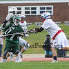 Winnacunnet's #90 Cole Parker checks Kingswood's #10 Madison Tetreault as he  cuts to the center of the field during Friday's NHIAA DIV II Boys Lacrosse gaem between Winnacunnet and Kingswood High Schools on 4-22-2016.  Matt Parker Photos