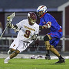 Clippers #9 Zadoc White makes a cut to the Winnacunnet gol with Winnacunnet's #96 Duncan Cragg defending during Wednesday's NHIAA DIV II Boys Lacrosse game between Winnacunnet and Portsmouth High School on 4-27-2016 @ Portsmouth.  Matt Parker Photos