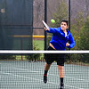 Winnacunnet's Nick Minichello plays a net ball during Friday's #1 Doubles match with teammate  Dylan Taylor vs Nashua South's Brandon Stempler and Pranav Prabhala in NHIAA DIV I Boys Tennis @ Winnacunnet's home opener on 4-8-2016 @ WHS. Matt Parker Photos