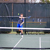 Winnacunnet's Dylan Taylor returns the ball during Friday's #1 Doubles match with teammate Nick Minichello vs Nashua South's Brandon Stempler and Pranav Prabhala in NHIAA DIV I Boys Tennis @ Winnacunnet's home opener on 4-8-2016 @ WHS. Matt Parker Photos