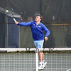 Winnacunnet's #1 Singles player Dylan Taylor returns the ball during a match with Spaulding's Jake McCutcheon during Monday's NHIAA DIV I Boys Tennis match between Winnacunnet and Spaulding High Schools on 5-9-2016 @ WHS.  Matt Parker Photos