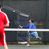 Winnacunnet's #1 Singles player Dylan Taylor goes deep into the back court to get a shot by Spaulding's Jake McCutcheon during Monday's NHIAA DIV I Boys Tennis match between Winnacunnet and Spaulding High Schools on 5-9-2016 @ WHS.  Matt Parker Photos