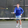 Winnacunnet's #1 Singles player Dylan Taylor rushes the net while returning a shot by Spaulding's Jake McCutcheon during Monday's NHIAA DIV I Boys Tennis match between Winnacunnet and Spaulding High Schools on 5-9-2016 @ WHS.  Matt Parker Photos