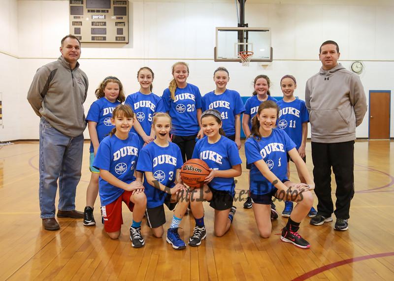 HYA 5-6 Girls Basketball Team Photo Duke sponsored by Sports Outpost on Saturday 1-14-2017 @ Marston School, Hampton, NH.  Matt Parker Photos