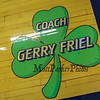 UNH's long time Mens Basketball Coach Gerry Friel who passed away on August 20th, 2007 is honored with a painting of a green lucky clover in the corner of the court seen at Wednesday's America East Basketball game between UNH and UMass Lowell on 1-25-2017 @ Lundholm Gymnasium, UNH, Durham.  Matt Parker Photos