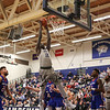 UNH's #12 Iba Camara elevates to complete a dunk in the 2nd half at Wednesday's America East Basketball game between UNH and UMass Lowell on 1-25-2017 @ Lundholm Gymnasium, UNH, Durham.  Matt Parker Photos