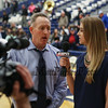 UNH's Mens Basketball Coach Bill Herrion talks with ESPN 3 Kesea Campbell after his teams win 80-71 over UMass Lowell in an America East conference game on 1-25-2017 @ Lundholm Gymnasium, UNH, Durham.  Matt Parker Photos