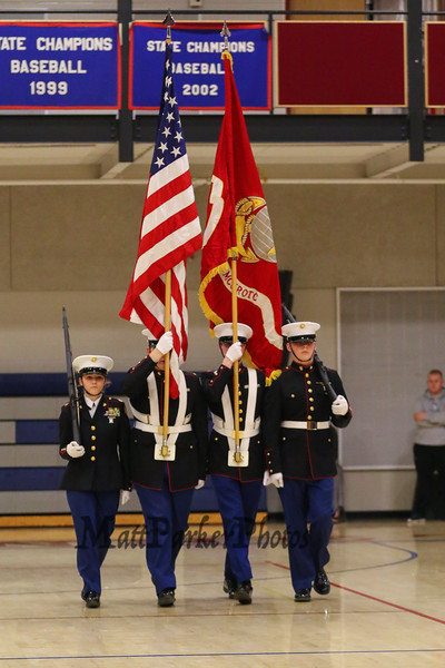 Winnacunnet's Color Guard marches to the center of the court at Friday Nights NHIAA DIV I Girls Basketball game between Winnacunnet HS and Pinkerton Academy on 1-6-2017 @ WHS.  Matt Parker Photos