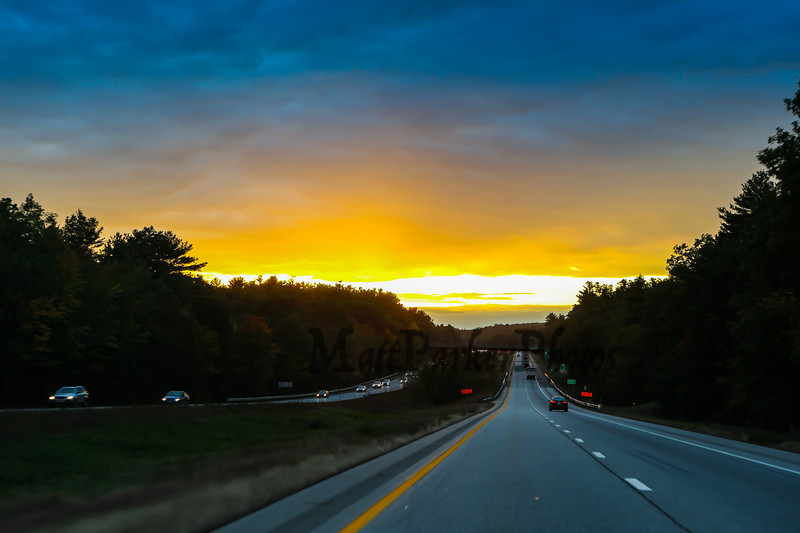 Route 101 heading West at Exit 5 in Raymond with sunset on Friday 10-6-2017.  Matt Parker Photos