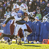 Winnacunnet's RB #3 Lou Granger runs up the field after making a catch with Goffstown's #20 Carter Chouinard making the tackle during Saturday's NHIAA DIV I semifinal game between Winnacunnet and Goffstown High Schools on 11-11-2017 @ WHS.  Matt Parker Photos