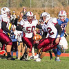 Goffstown's #2 Charles Keith looks for running room during Saturday's NHIAA DIV I semifinal game between Winnacunnet and Goffstown High Schools on 11-11-2017 @ WHS.  Matt Parker Photos