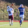 Goffstown's #9 Andrew Duval makes a catch and runs for a touchdown with Winnacunnet's #12 Evan Welch covering during Saturday's NHIAA DIV I semifinal game between Winnacunnet and Goffstown High Schools on 11-11-2017 @ WHS.  Matt Parker Photos