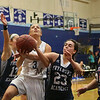 York's #3 Lily Posternak gets fouled by Fryeburg's #23 Kaylin Delaney putting her to the free throw line at  Monday's Western Maine Conference  Girls Basketball  game between York and Fryeburg on 2-6-2017 @ YHS.  Matt Parker Photos