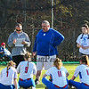 Winnacunnet's Coach Dennis Bruce talks with his players after the teams loss to Bedford at Friday's  NHIAA DIV 1 Girls Softball game between Winnacunnet and Bedford High Schools on 4-28-2017 @ WHS.  Matt Parker Photos