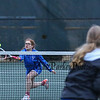 Winnacunnet's Anna Gourgeot gets to a net ball to make a shot during the #3 doubles match with teammate Grace Cooper vs Merrimack's  Kortney Vallace and Devon Mitchell at Wednesday's NHIAA DIV 1 Girls Tennis match between Winnacunnet and Merrimack High Schools @ WHS. Matt Parker Photos